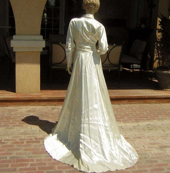30s 40s Tailored Fitted Wedding Dress Bridal Gown Vintage