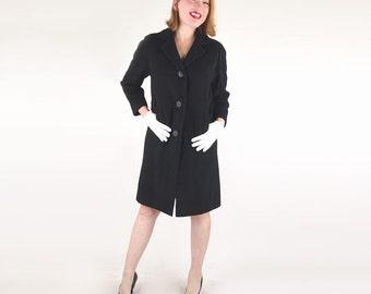 SALE 60s Black Cashmere Coat - Simple Elegance S
