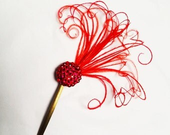 Swarovski Crystal, Red Feather Fascinator, Hair Accessory, Bobby Pin, Hair Pin, Many colors available, Batcakes Couture