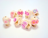 Ivory and Pink Howlite Sugar Skull Beads-Collection of 8