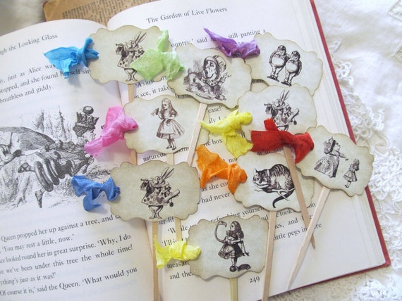 Alice Characters Cupcake Toppers with ribbons - Party Food Picks -Set of 18- Choose Ribbon Color - Unbirthday Shower Birthday Tea Party