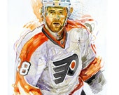 Watercolor portrait painting of Philadelphia Flyers Hockey player Claude Giroux - giclee from original
