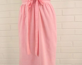 Price Reduce! Vintage Pink Summer Skirt, Cotton Candy Pink Skirt, Chambray Cotton, Casual Wrap Style Skirt, Wrap Around Skirt, Knee Length