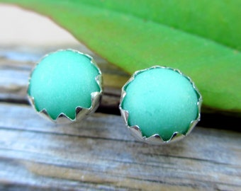 Variscite Cabochon Studs, 14k Gold Stud Earrings or Sterling Silver American Gemstone Studs - 6mm Low Profile Serrated or Crown Earrings