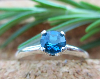 Blue Tourmaline Ring in Sterling Silver, Round Faceted Gemstone - Free Gift Wrapping