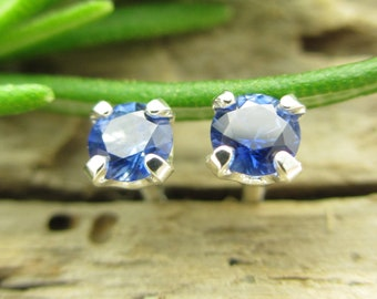 Blue Sapphire Studs - Genuine Blue Sapphire Stud Earrings in Real 14k Gold, Sterling Silver, or Platinum - 3mm