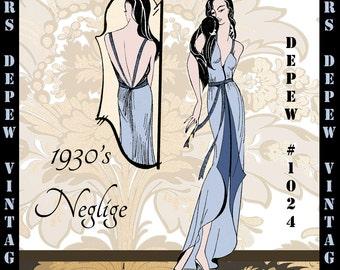Vintage Sewing Pattern 1930's Easy Negligee Nightie Digital Print at Home Pattern Depew 1024 -INSTANT DOWNLOAD-