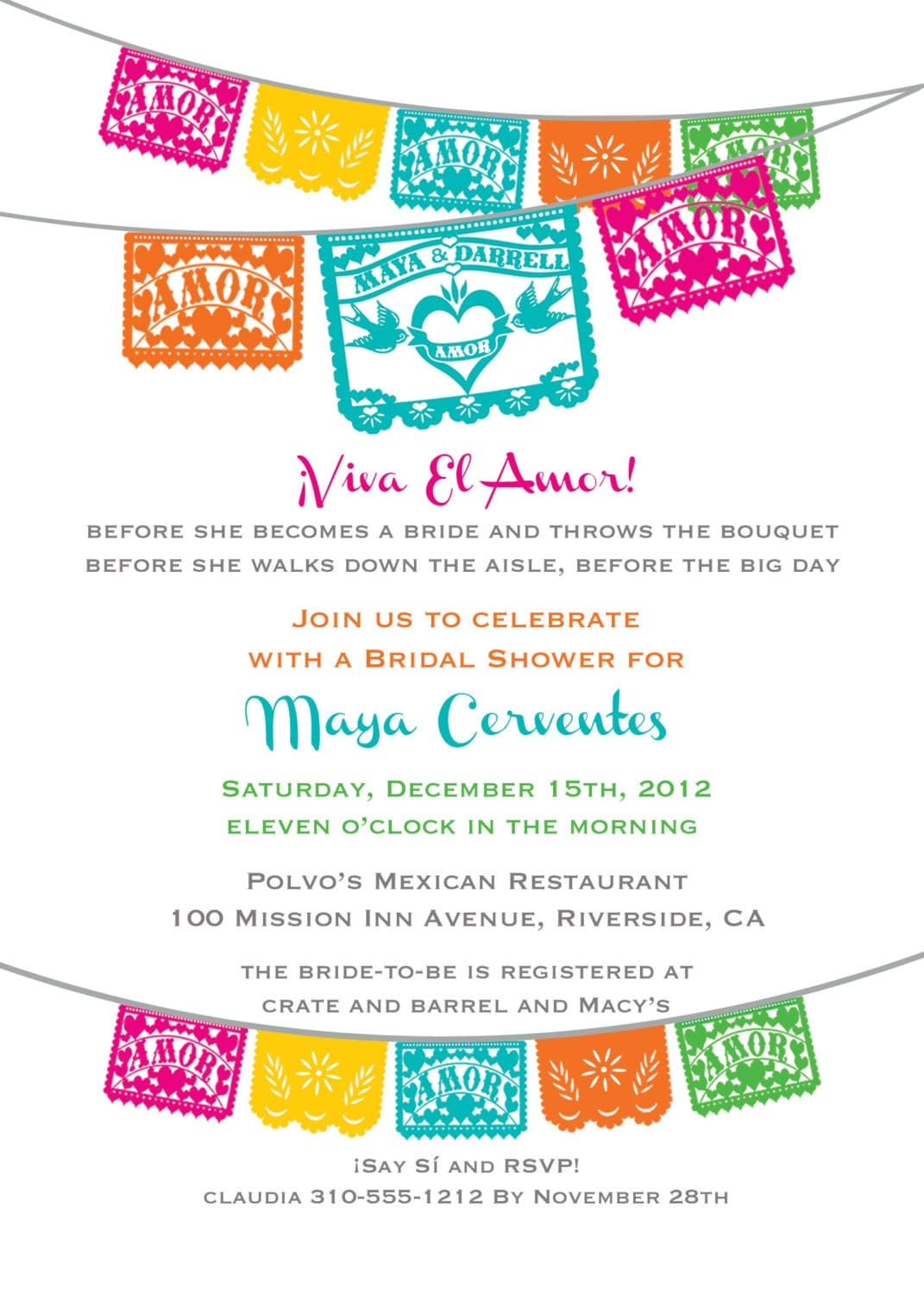 Viva El Amor Bridal Shower Fiesta Papel Picado Invitation Love