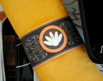 INSTANT DOWNLOAD (Digital) Sophisticated Thanksgiving Napkin Ring w Turkey and Pilgrim Hat in Brown w Orange, Tan Accents