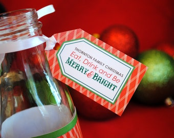DIGITAL Christmas Party Tag with Plaid in Red, White and Green w/ Eat Drink and Be Merry and Bright
