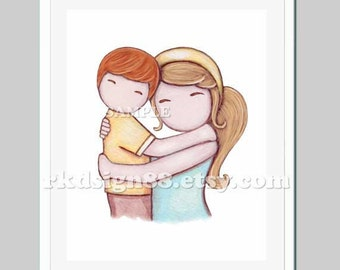 Etsy nursery art print childrens decor kids art boys art mother and son art baby shower gift red blonde Proud Of You 8 x 10 print