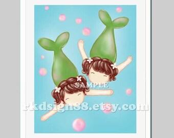 Children's art, Mermaid art, baby girl nursery art, nursery decor, girft for twin girls, sisters wall art, bathroom decor, brown hair