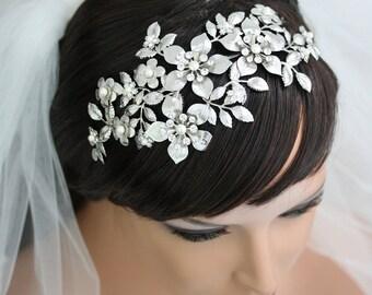 Bridal Flower Crown Wedding Hair Accessories Wedding Bridal Headband Headpiece Leaf Headband Vintage Bridal Flower Crown Tiara   LISSE DLX