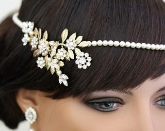 Boho Bridal Halo Headpiece Pearl Hair Vine Wedding Halo Head piece Art Deco Halo Headband Gold Leaf Hair Vine IVY HALO