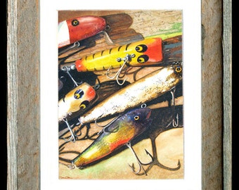 "Fishing Lure Art Barn Wood Framed/Matted ""Vintage Lures"""