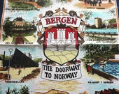 vintage bergen the doorway to norway souvenir towel/wall hanging