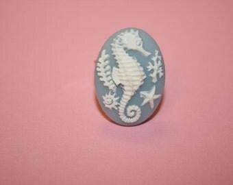 Medium Light Blue Seahorse Cameo Ring