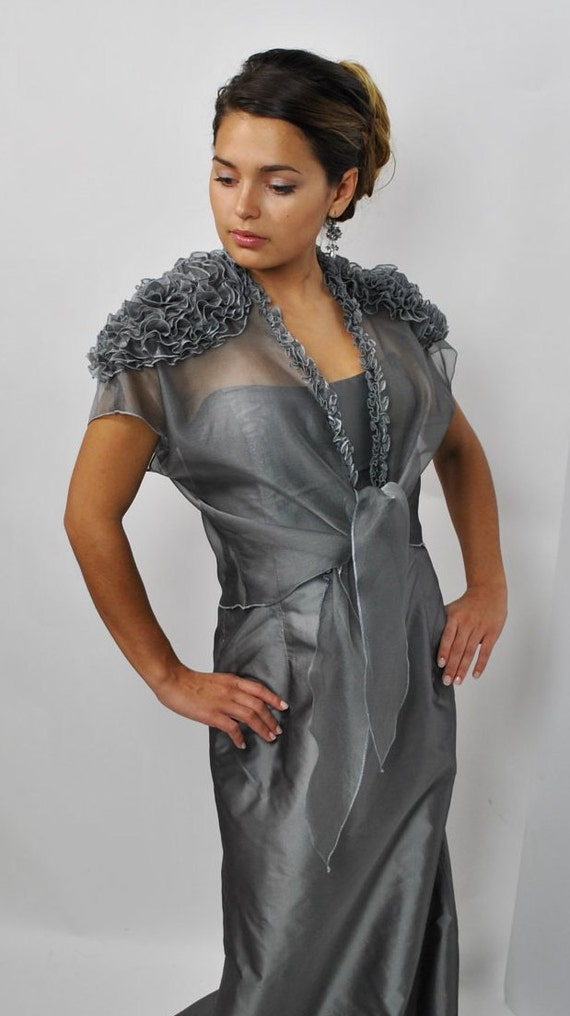 SAMPLE SALE 40% off Evening Grey Silk Organza Jacket/ size M-L