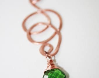 Hammered Copper Necklace with Emerald Green Wire Wrapped Briolette, Rose Gold Chain
