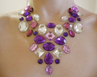Purple Floating Rhinestone Statement Necklace, Floating Gem Necklace, Rhinestone Illusion Necklace, Belly Dance Jewelry