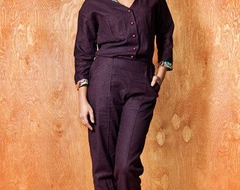 "JUMPSUIT Linen ""Dacoity Aviator lady"", Dark Purple color ((On SALE))"