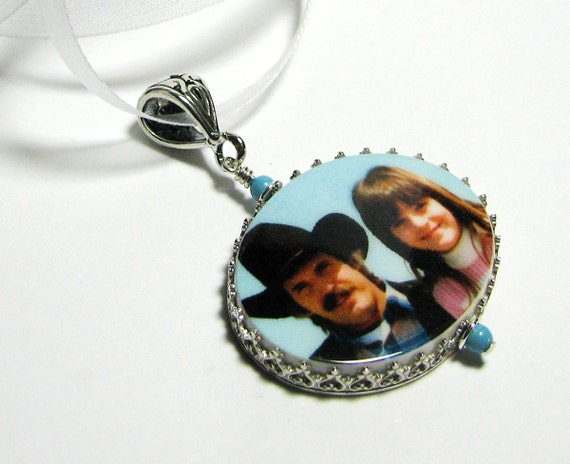 Sterling Framed Photo Pendant - Large - FP18Pf - Memory Charm, Personalized, Custom Keepsake Jewelry, Sympathy Jewelry