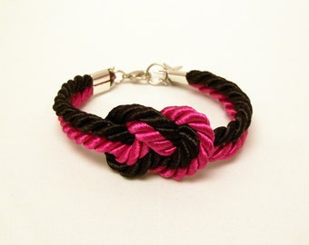 Hot pink and black infinity knot nautical rope bracelet with silver star charm