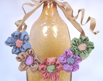 Ribbon daisy bib statement necklace -- French ribbon daisies in antique pastel hues -- a perfect bouquet of friendship flowers