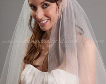 1920s Inspired Bridal Veil, Juliet Cap Veil, Double Layer Waltz Length Veil - Naomi