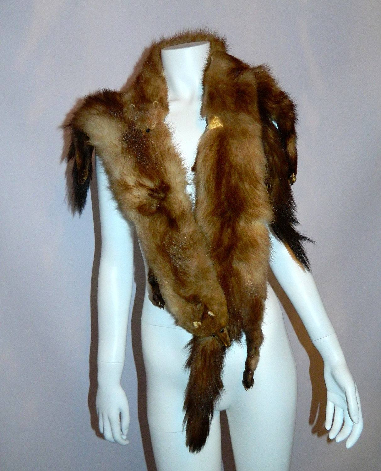 Vintage 1950s fisher stole fur 50s shawl collar by retrotrend - Stoel fur ...