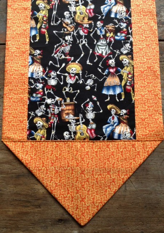Day of the Dead Tablecloth / Tablerunner Black and Orange Muertos Fiesta