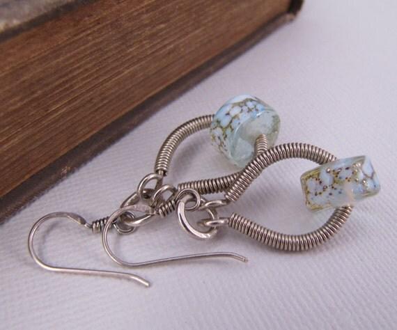 Sterling Silver Lampwork Drop Earrings. Horseshoe. Wire Wrapped Earrings. Crackle Sky Blue