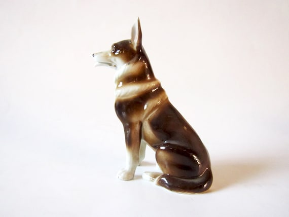 Vintage Ceramic German Shepherd Dog Figurine By Larouxvintage