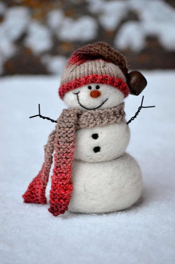 Needle Felted wool Snowman - hand spun/hand knit hat and scarf  95