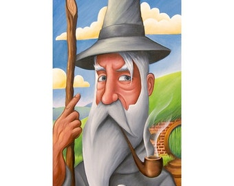 "GANDALF THE GREY -  Wizard from Lord of the Rings, The Hobbit - 6""x11"" Print"