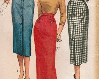 1950s Simplicity 1690 Vintage Sewing Pattern Misses Pencil Skirt, Wiggle Skirt, Slim Skirt, One Yard Skirt Size Waist 26