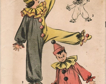 1940s Advance 707 Vintage Sewing Pattern Child's Clown Costume Size Large