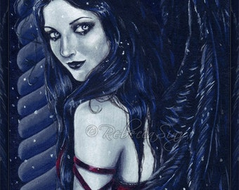 Silent Night PRINT Gothic Angel Dark Blue Red Snow Winter Column Wings Portrait Acrylic Pale Skin 3 SIZES