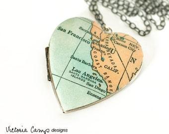 California Map Necklace, Large Vintage Silver Heart Locket,  Antique Map, Los Angeles, San Francisco, San Diego, Oakland