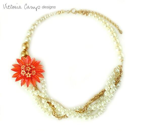 Multi Strand Statement Wedding Necklace, Vintage Orange Flower Brooch, Rhinestone, Daisy, Gold, Tangerine, Ivory, Bridal Jewelry, OOAK