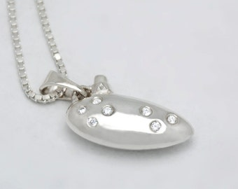 Zelda Ocarina Pendant in Silver with Diamonds or CZs