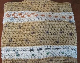 "Upcycled Plarn Crochet Bag, 14""x13.5"""