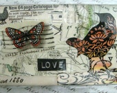 Medium Size Recycled Laminated Luggage / Bag Tags. Mine. Handcrafted Collage from Vintage Maps and Images