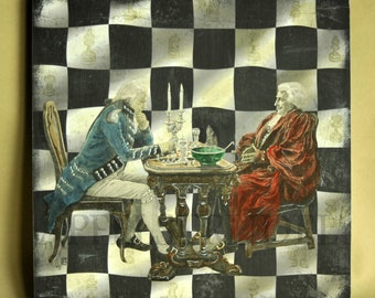Chess Art, Chess Pieces, Checkmate, Chessboard, Art Collage, Recycled Art using an original 1880s Print from the London Illustrated News