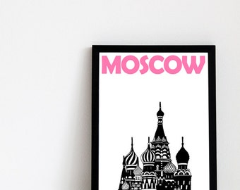 Moscow Print // Russian Art Print // Moscow Poster // Russian Gift // Moscow Art // Russian Poster // Russian Print // Gift for Friends