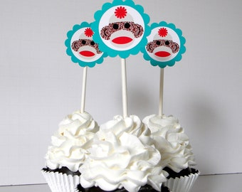 Sock Monkey Cupcake Toppers - Set of 12