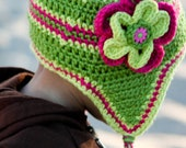 Lime and hot pink crochet or knit hat, little girl hat, winter hat, baby hat with flowers