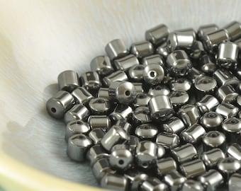 4x5mm Barrel shaped Hematite beads, Qty 25