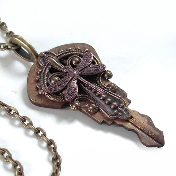 Victorian Wings - Recycled Key Pendant Necklace Jewelry