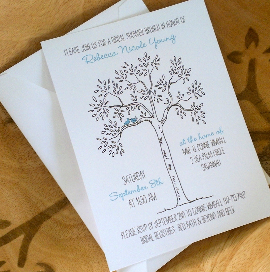 Love Bird Bridal Shower Invitation Tree Themed By Theinklab